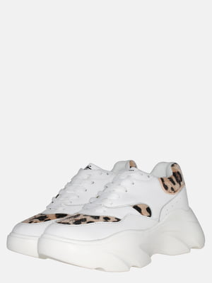 Кроссовки белые с анималистическим принтом | 5552802