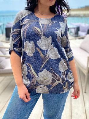 Джемпер синій з квітковим принтом | 5564262