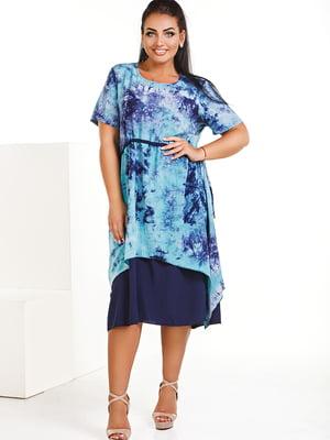 Платье синее с абстрактным принтом   5564896
