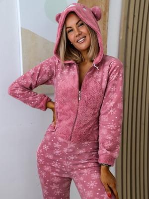Комбинезон спальный розовый с рисунком | 5564907