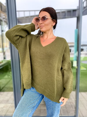 Пуловер цвета хаки | 5565005