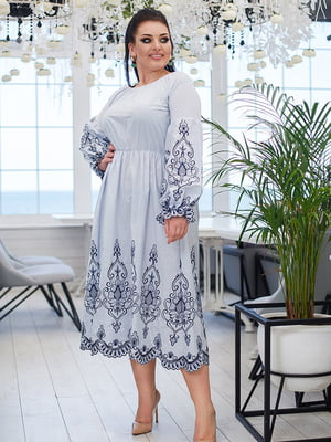 Сукня в смужку з вишивкою | 5564462