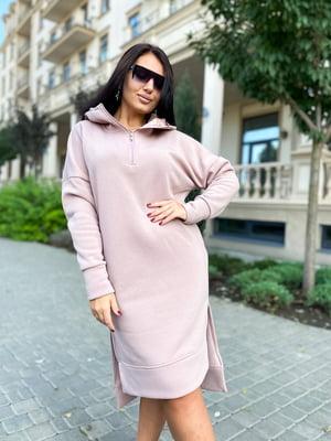 Сукня-худі кольору пудри | 5564512