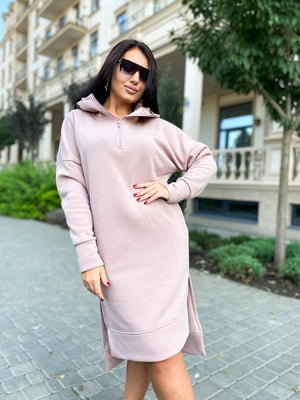 Платье-худи цвета пудры | 5564514