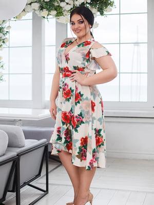 Сукня молочного кольору з квітковим принтом | 5564670