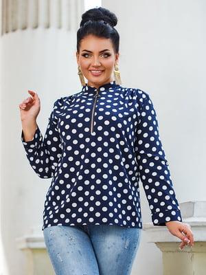Блуза темно-синя в горох | 5564686