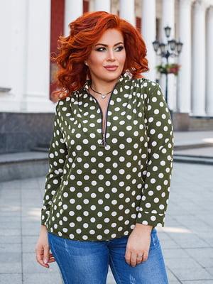 Блуза цвета хаки в горох | 5564687