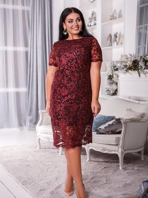 Сукня бордово-чорна з квітковим малюнком   5564747