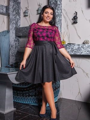 Сукня чорно-малинова з малюнком | 5564754