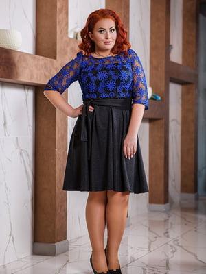 Сукня чорно-синя з малюнком | 5564755