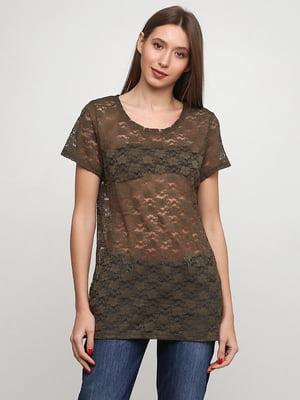 Блуза цвета хаки с цветочным узором | 5566104
