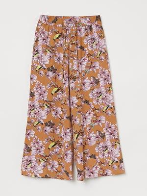Кюлоти коричневі з квітковим принтом | 5566432