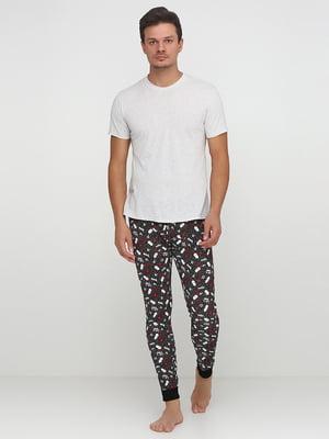 Брюки пижамные в принт | 5566443