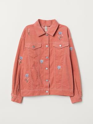 Куртка рожева з квітковою вишивкою | 5566636