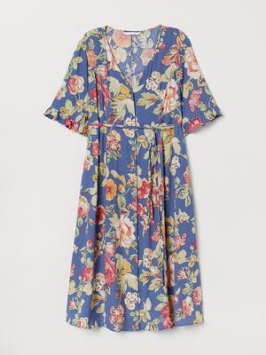 Платье для беременных синее с цветочным принтом | 5566837