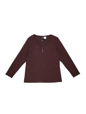 Лонгслив темно-коричневый пижамный   5566849