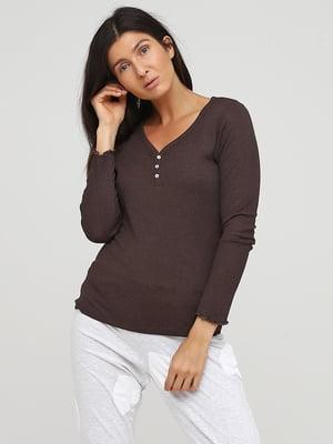Лонгслив темно-коричневый пижамный   5566852