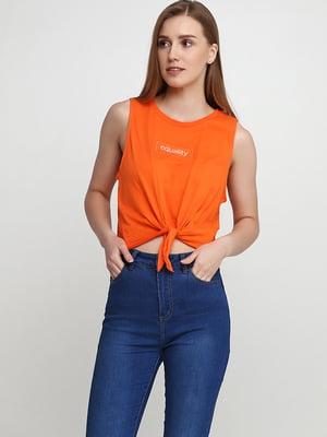 Топ оранжевый с надписью | 5567538