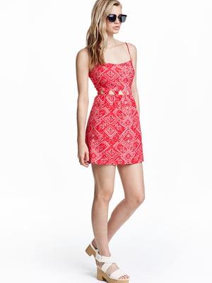 Платье красное с орнаментом | 5567751