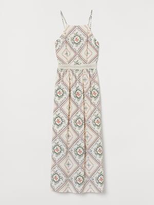 Платье белое с орнаментом | 5567835