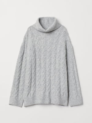 Свитер серый с узором «косами» | 5567944