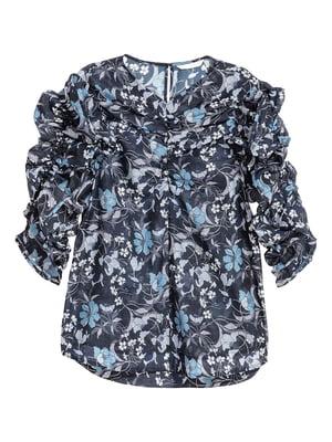 Блуза синяя в цветочный принт | 5567974