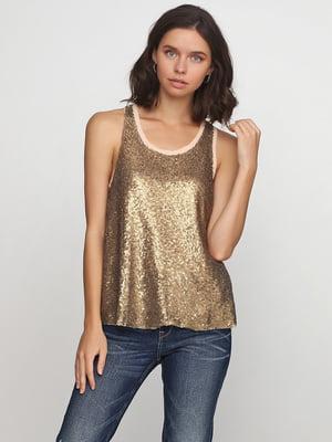 Блуза золотистого цвета с декором | 5567976