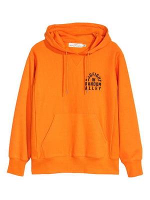 Худи оранжевая с принтом   5568627