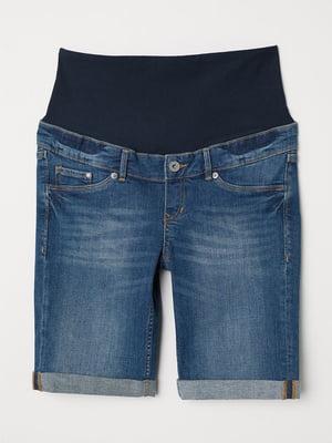 Шорты джинсовые для беременных синие | 5568725