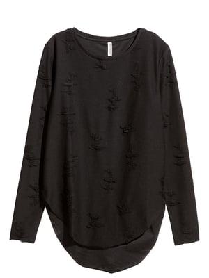 Лонгслив черный с декором   5568760