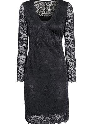Платье для беременных черное с кружевом | 5568790