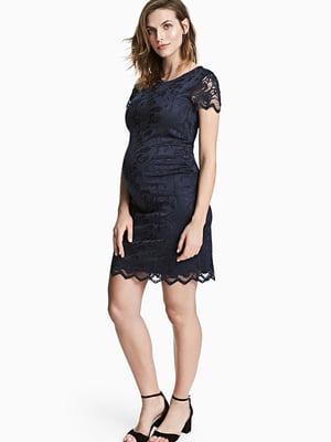 Платье для беременных синее с кружевом | 5568793