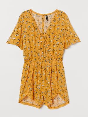 Полукомбинезон желтый в цветочный принт | 5568836