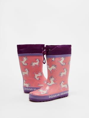 Сапоги розово-фиолетовые в принт | 5536153