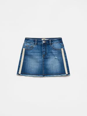Юбка синяя джинсовая с декором | 5536391
