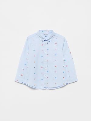 Рубашка голубая с рисунком | 5561780