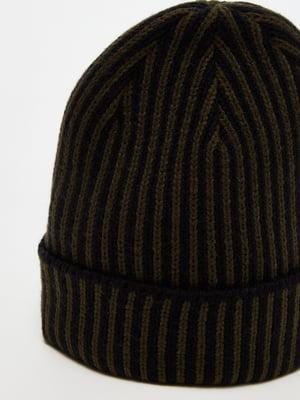 Шапка черно-коричневая в полоску | 5561750