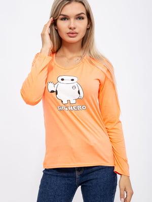 Лонгслив оранжевого цвета с принтом | 5568964