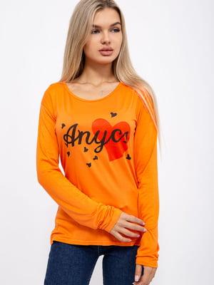 Лонгслив оранжевого цвета с принтом | 5568968