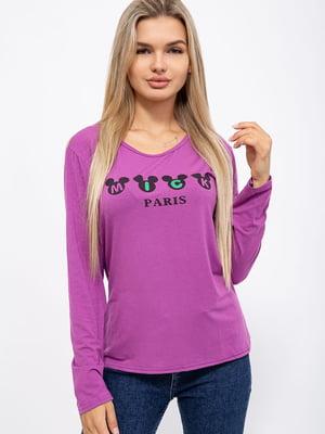Лонгслив фиолетовый с принтом | 5568974