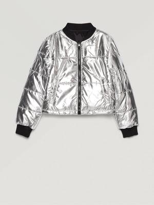 Куртка-бомбер двухсторонняя черно-серебристого цвета | 5569237