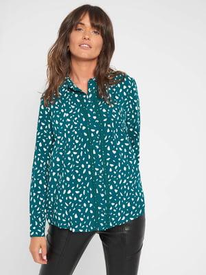 Рубашка темно-бирюзовая в принт | 5569630