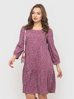 Сукня бузкового кольору у принт | 5570988