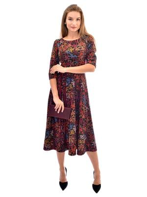 Сукня коричнева у квітковий принт | 5570998