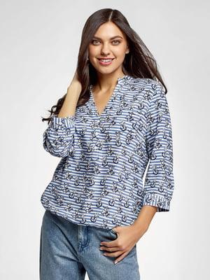 Блуза в полоску и принт | 5571097