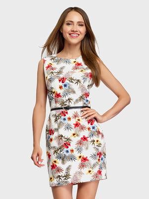 Платье белое с цветочным принтом | 5571203