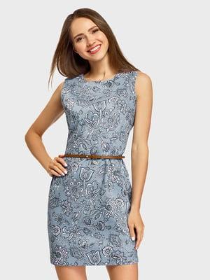 Платье голубое с принтом | 5571204