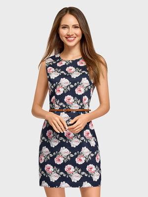 Платье синее с цветочным принтом | 5571205