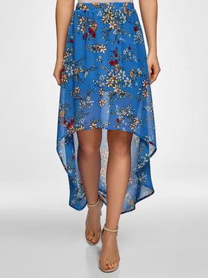 Юбка синяя с цветочным принтом | 5571224