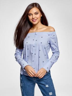 Блуза в полоску с принтом | 5571241